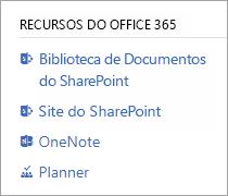 Secção de recursos do Office 365 para um grupo ligada