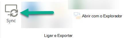 A opção Sync está na fita SharePoint, à esquerda do Open With Explorer.