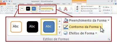 Em Ferramentas de Desenho, o separador Formatar no friso do PowerPoint 2010.