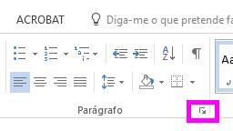 Pode abrir a caixa de diálogo Parágrafo ao clicar no ícone Expandir.