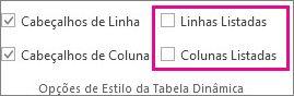 Caixas Linhas Listadas e Colunas Listadas no separador Estrutura