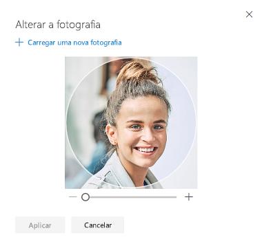 Ecrã com uma opção para alterar a sua fotografia de perfil