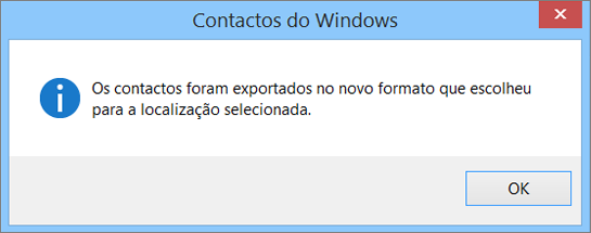 Verá uma mensagem final a informar que os seus contactos foram exportados para um ficheiro CSV.