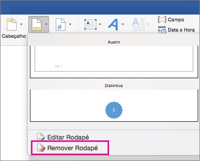No menu Rodapé, a opção Remover um Rodapé está realçada
