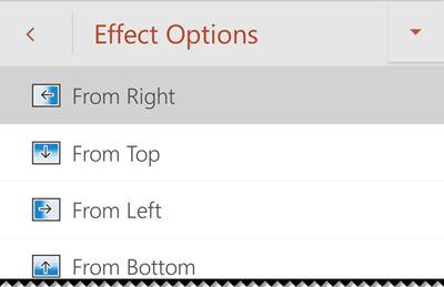 Opções de efeito no PowerPoint para telemóvel Android.