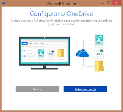 Captura de ecrã da caixa de diálogo Configurar o OneDrive ao configurar a sincronização do OneDrive para Empresas