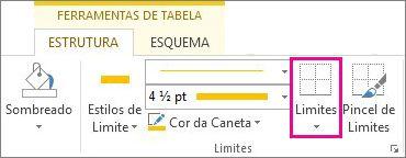 Botão Limite nas Ferramentas de Tabela
