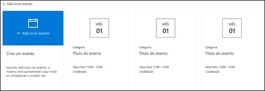Peça Web Eventos do SharePoint