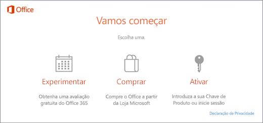 Uma captura de ecrã que mostra as opções Experimentar, Comprar ou Ativar predefinidas num PC com o Office pré-instalado.