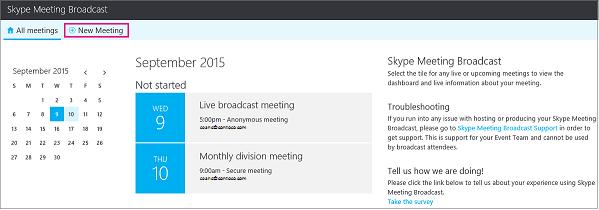 Dashboard de reunião com a opção Nova Reunião realçada