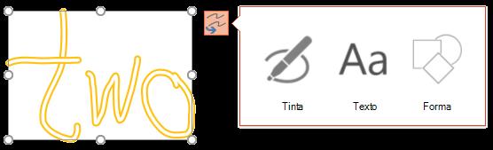 Converter a tinta digital Your mostra qual o tipo de objeto que pode tentar para converter o objeto selecionado para.