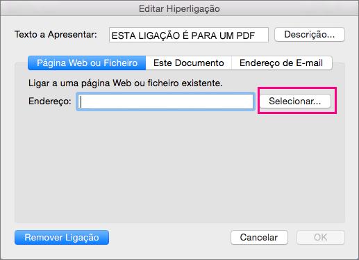 Apresenta a caixa de diálogo Inserir Hiperligação PowerPoint 2016 para Mac