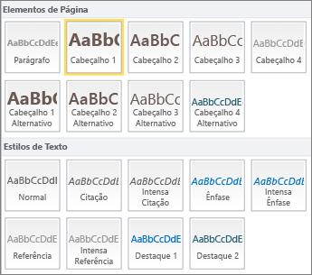 Captura de ecrã de Elementos de Página e Estilos de Texto, disponíveis a partir do grupo Estilos no friso do SharePoint Online.