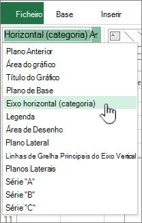 Seleção atual com o eixo horizontal selecionado