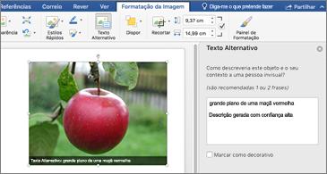 Documento do Word com uma imagem e o painel Texto Alternativo à direita