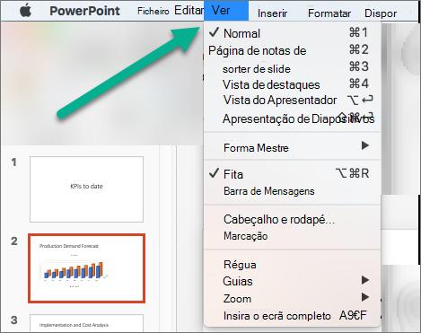 O menu 'Ver em PowerPoint'