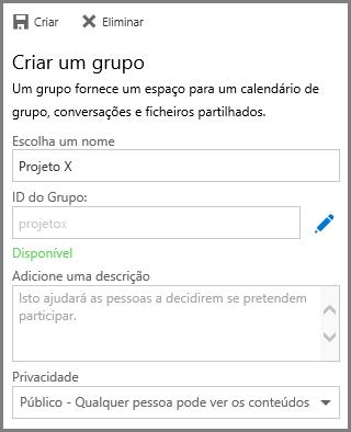 Captura de ecrã a mostrar a escrever um nome e clicar em Criar para criar um grupo a partir do OneDrive para Empresas