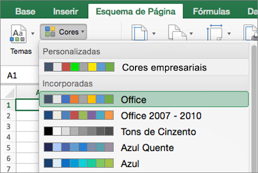 Cores personalizadas e incorporadas cores