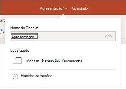 Clique no nome do ficheiro no centro da barra de títulos perto da parte superior da janela do navegador.