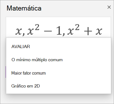 Lista de matrizes no assistente de matemática