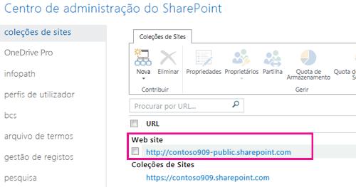 web site público no centro de administração do sharepoint > coleções de sites