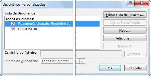 A caixa de diálogo Dicionários Personalizados