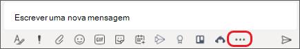 Caixa onde digita Mensagens em Equipas da Microsoft
