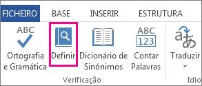 Imagem do comando Definir no separador Rever