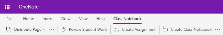 Captura de ecrã de classe separador Bloco de notas no OneNote Online