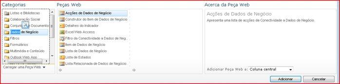 O Selecionador de Peças Web apresenta a Peça Web Excel Web Access