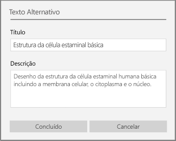 Caixa de diálogo de texto alternativo para adicionar texto alternativo no OneNote para Windows 10.