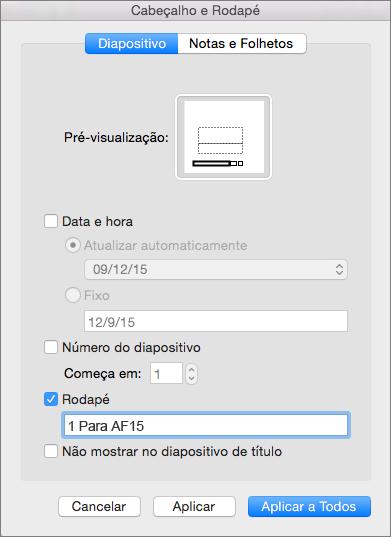 Caixa de verificação do rodapé no separador Diapositivo na caixa Cabeçalho e Rodapé