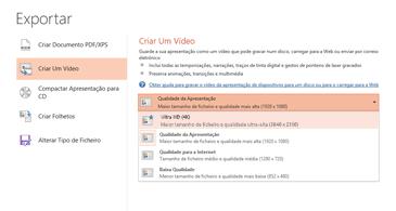 Captura de ecrã da caixa de diálogo Exportar a mostrar as opções disponíveis ao criar um vídeo com base numa apresentação