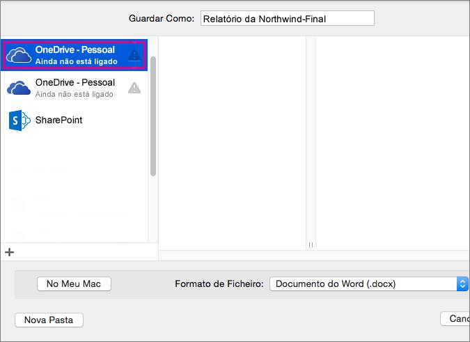 Para guardar o seu documento no OneDrive ou noutra localização online, clique em Localizações Online.
