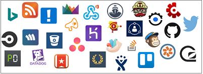 Os logótipos mostrados incluem Aha!, AppSignal, Asana, Bing News, BitBucket, Bugsnag, CircleCI, Codeship, Crashlytics, Datadog, Dynamics CRM Online, GitHub, GoSquared, Groove, HelpScout, Heroku, Incoming Webhook, JIRA, MailChimp, PagerDuty, Pivotal Tracker, Raygun,