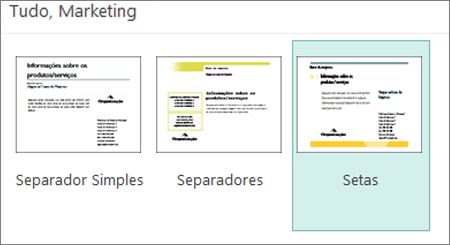 Modelos de postais de marketing para o Publisher.