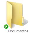 Sobreposição do ícone de sincronização verde do OneDrive