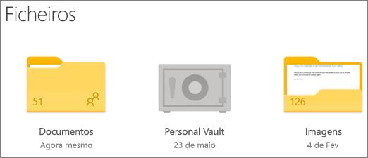 Captura de ecrã de pasta do Personal Vault no OneDrive