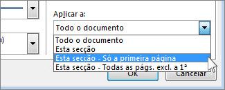 Lista para escolher que páginas apresentam o limite