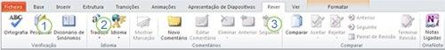 separador rever no friso do powerpoint 2010.
