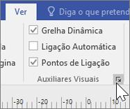 Captura de ecrã a mostrar as opções em Ver, com Grelha Dinâmica e Pontos de Ligação selecionadas