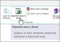 Botão Exportar para o Excel realçado no friso do SharePoint