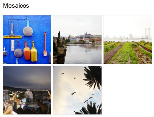 Vista de azulejos da página web da galeria de imagem