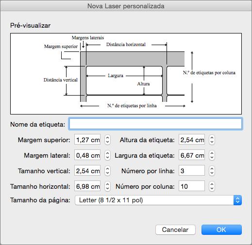 Configure e ajuste as medidas para que correspondam às etiquetas que pretende imprimir.