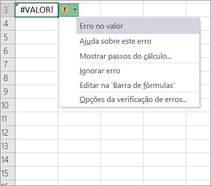 Lista pendente apresentada junto ao ícone de rastrear valor