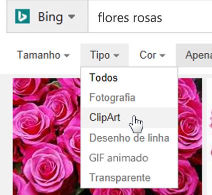 Abra o filtro Tipo e selecione ClipArt