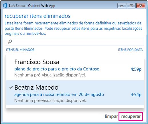 Caixa de diálogo Recuperar itens eliminados do Outlook Web App