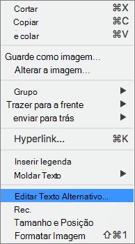 Opção de texto alt no menu de contexto no Word