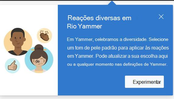 Screenshot mostrando uma caixa de diálogo que notifica o utilizador de que estão disponíveis reações diversas e como defini-las