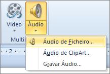 O menu Áudio